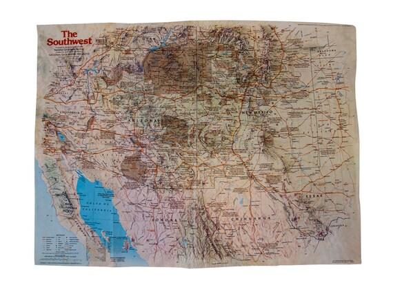 Vintage 1982 USA The Southwest National Geographic Map // California  Arizona New Mexico Map // Southwest Arizona New Mexico Historical Map