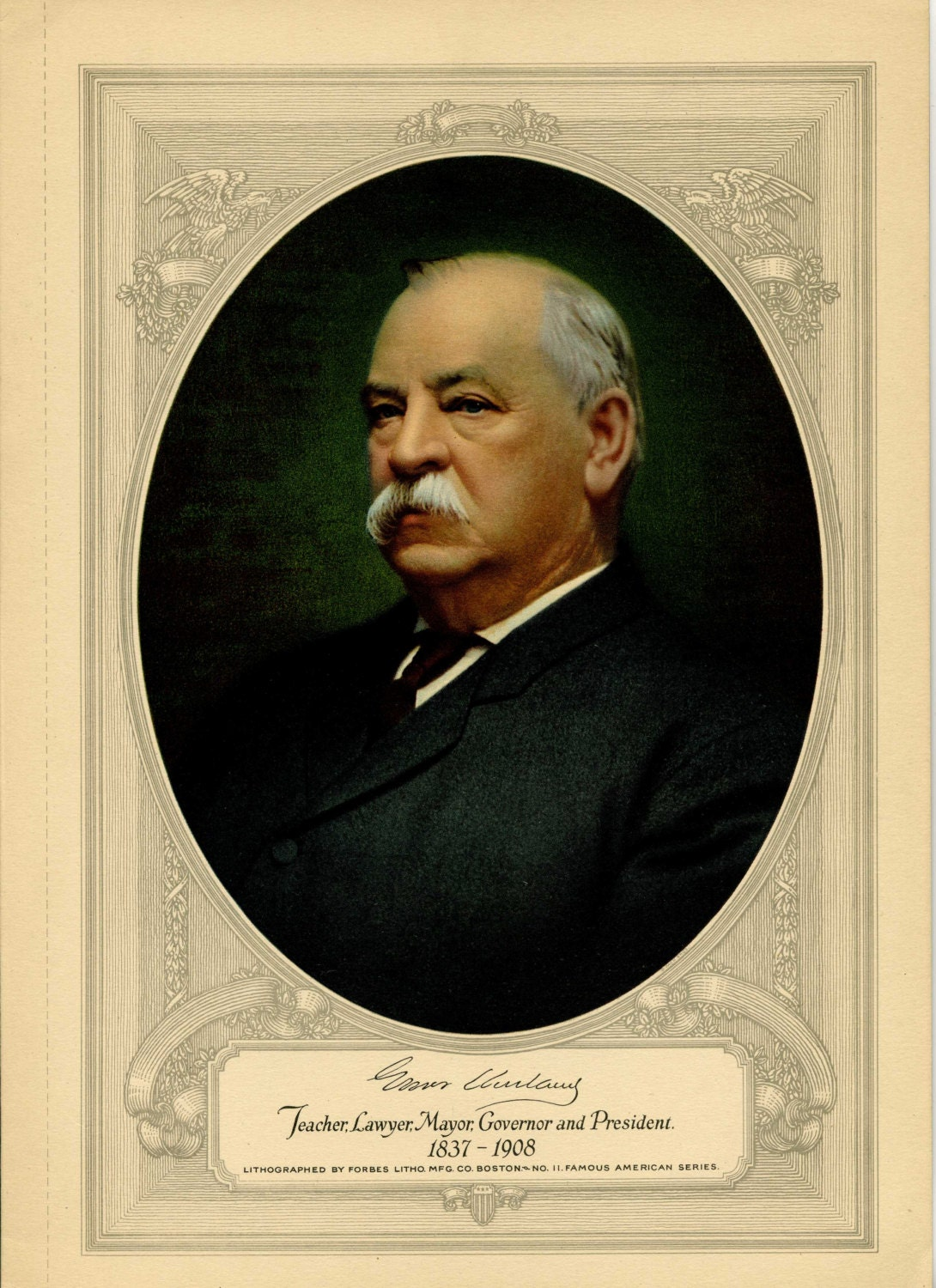 Glover Cleveland Lithograph: Famous American Series No. 11