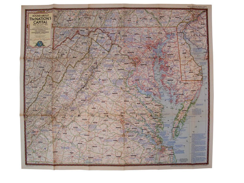 Vintage 1956 Us Capital Virginia National Geographic Map Etsy - National-geographic-us-map