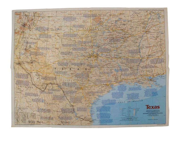 Map Of Texas Oklahoma And Louisiana.Vintage 1986 Texas National Geographic Map Vintage Us South Etsy