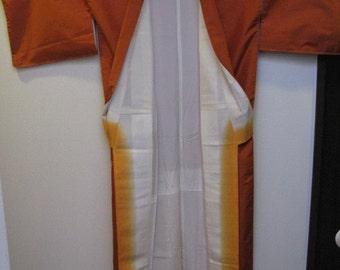 On Sale 10%off,Vintage Kimono, Silk, Kihachijo, Orange, #10