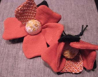 Camellia Ornament #2,silk kimono fabric