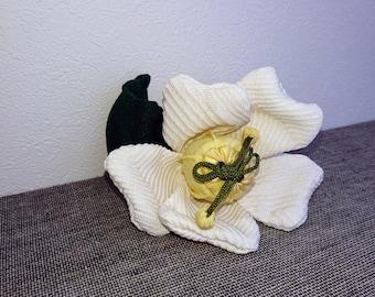 White Camellia Ornament,,Chirimen Zaiku #11,Japanese  Kimono Fabric