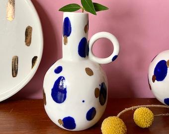 ceramic vase | Porcelain Vase | handmade vase | handmade ceramics | quirky decor | white navy and gold | gift for | wedding gift