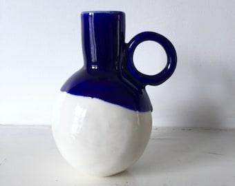 Ceramic vase | Porcelain Vase | handmade vase | handmade ceramics | navy blue and white | gift for her | wedding gift