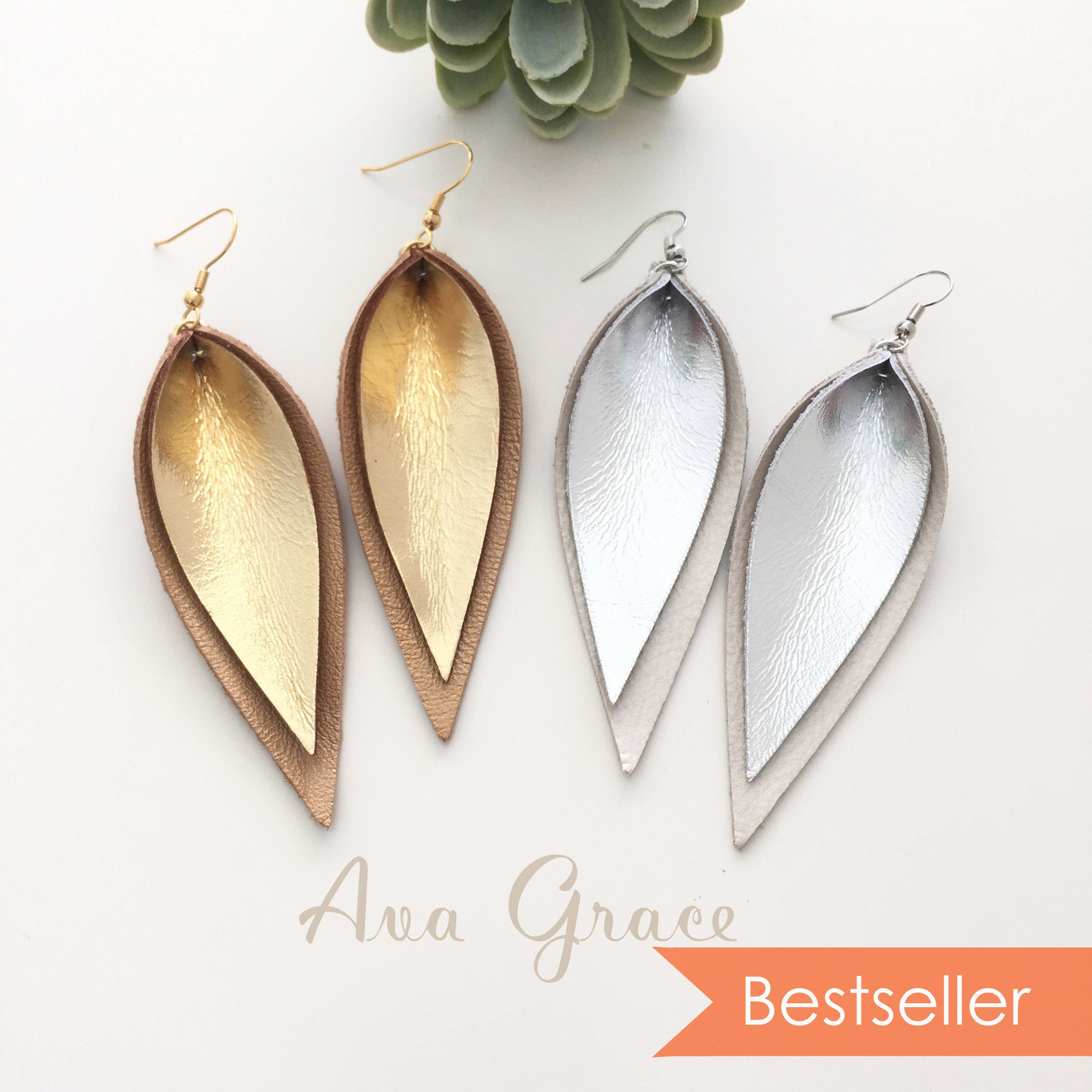 07535eccabecb layered gold silver metallic leather leaf earrings / double layered leather  earrings / not associated with Joanna Gaines or Magnolia Market