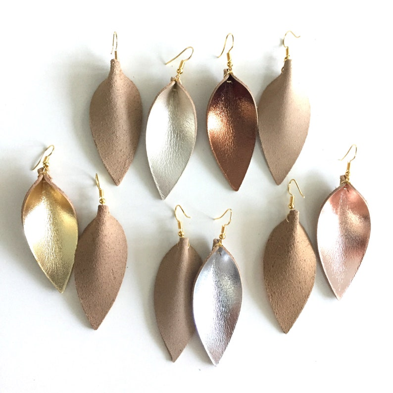 Metallic Leather leaf earrings  metallic pointed pinch leaf earrings  not associated with Joanna Gaines or Magnolia Market