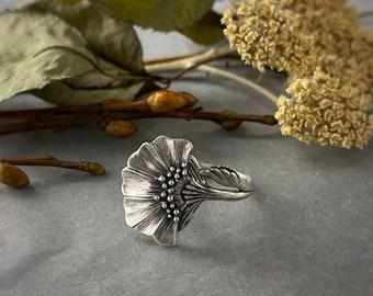Folk Flower ring | boho ring | art nouveau ring | flower ring | woodland ring