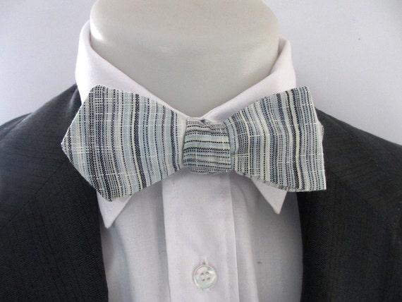 Papillon pour - hommes - pour bleu et gris rayure 100 % lin ~ point de diamant ~ le neoud ~ papillion ~ corbata ad2646
