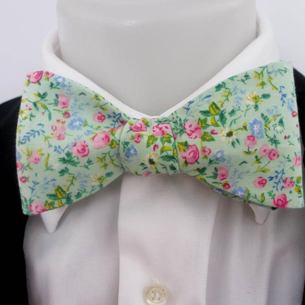 Noeud papillon pour homme ~ vert motif floral qualité ~ coton de qualité  floral 862d02 3bdb05ac550