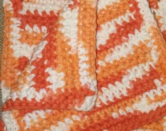 Handmade Crocheted Dish Cloths, kitchen Fall Orange