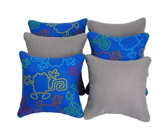 Blue/Grey Catnip Pillows (set of 6) // Cat Toy