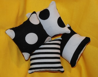 Spots and Stripes - Black and White Catnip Pillows (set of 4)