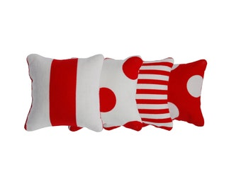 Spots and Stripes - Red and White Catnip Pillows (set of 4)