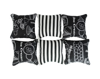 Black & White Catnip Pillows (set of 6)