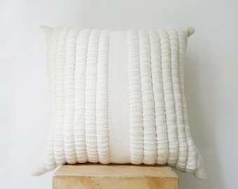Decorative Throw Pillow, Wool woven pillow, Weave cushion tapestry, White decor room, Chunky pillow cover