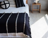 Black Knot Woven Throw blanket, Minimalist Dorm room bedding, Pure wool Tapestry decor, Home Gift