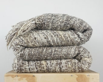 Woven Wool Rug in Scandinavian Style, Gray Beige Large area carpet, Natural Home Decor by Texturable