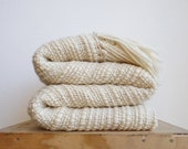 Natural Organic Textured Merino Wool chunky throw, Off White Afghan Blanket hand woven
