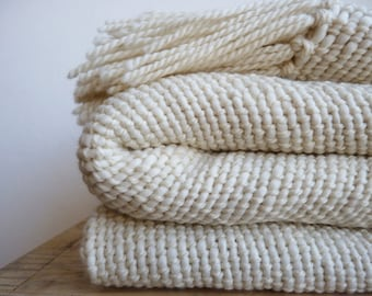 Chunky wool woven Blanket, Best seller natural organic merino wool, Off White warm throw blanket