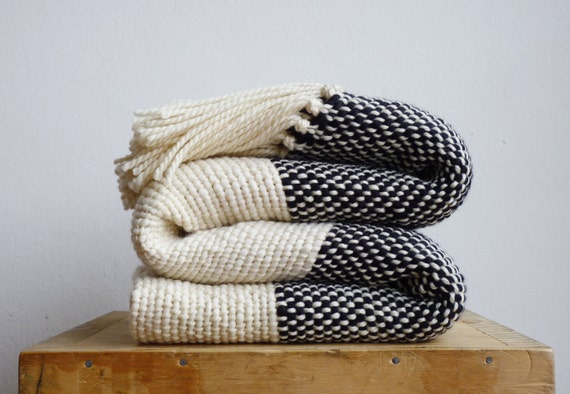 Chunky Knit Blanket Boho Bedding Wool Woven Throw Blanket