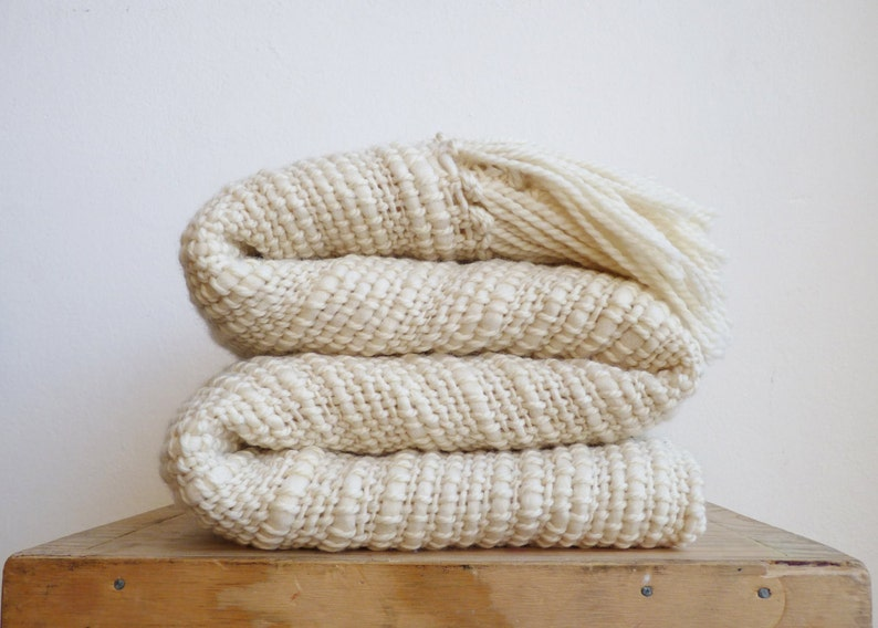662838b2c16c Natural Organic Textured Merino Wool chunky throw Off White