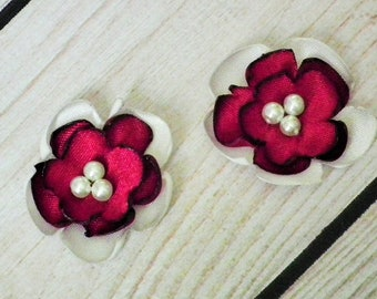 """CRIMSON and IVORY satin flower embellishment, DIY weddings, 1"""" red and cream satin flower with faux pearl centers, ready to ship"""