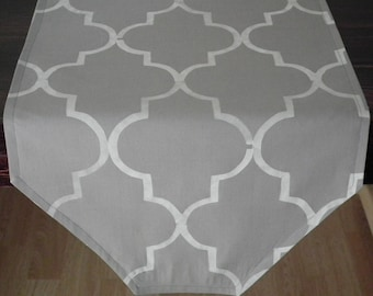 Short GRAY table runner for end tables or wedding altar,  hand stenciled quatrefoil pattern, moroccan style decor, custom colors available