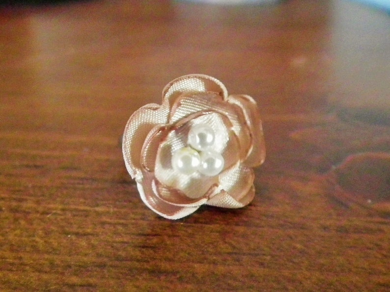 ready to ship ring ladies size 6.5+ adjustable champagne  tan  khaki statement ring FLAX satin flower ring with faux pearls