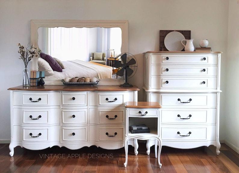 Sold White Vintage Farmhouse Bedroom Dresser Set Etsy