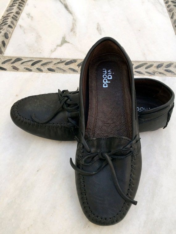 Black Leather Women Loafers Genuine