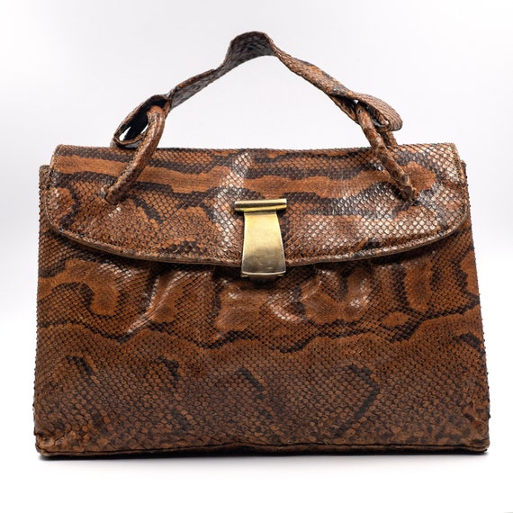 Genuine Python Skinsnake Handbag, Authentic Vintag