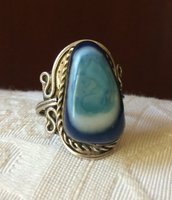 055a2e050b4d5 Ambers Vintage Huge Blue Agate Ornate Sterling Hand Crafted Ring