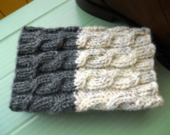 2 in 1 Boot Cuffs - IVORY tweed and DARK GRAY - 2 ways to wear Boot Cuffs Hand knit Cable knit Boot toppers Leg warmers