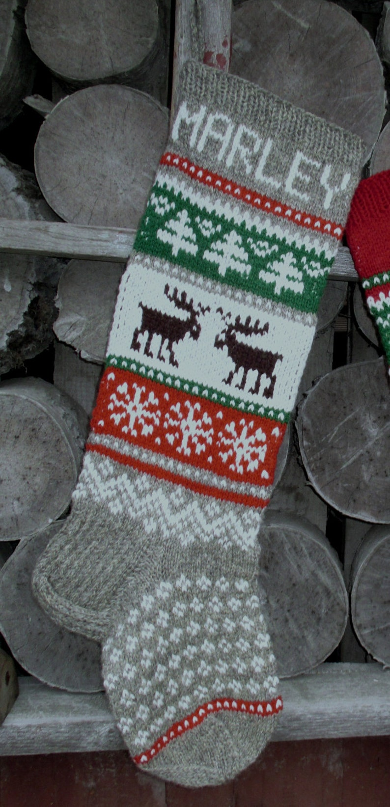 Knit Christmas Stockings 24 or 26 Personalized Hand knit Wool Gray Red White Blue Green with Deer Moose Reindeer Nordic