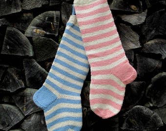 "Knit Christmas Stockings ~22"" Personalized Hand knit Wool Striped stockings Light pink Light blue with White stripes"