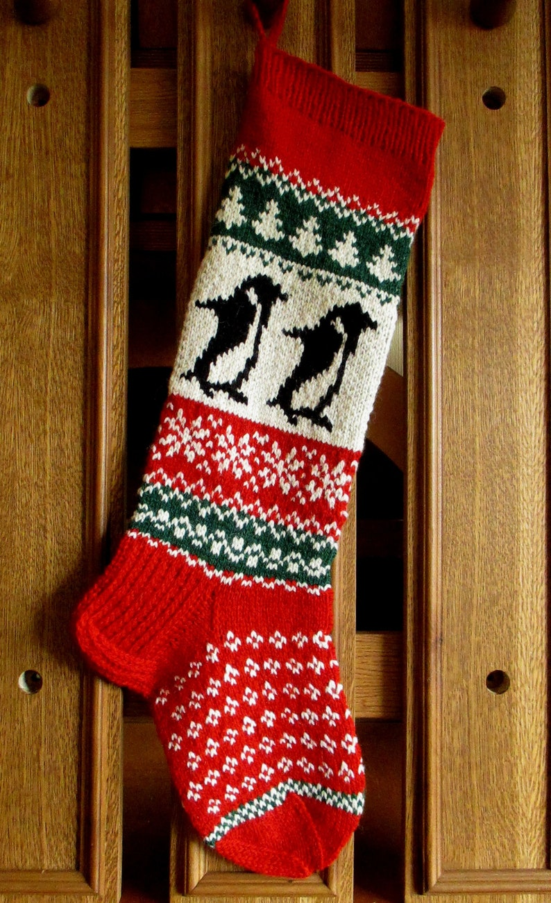 Knit Christmas Stockings ~24or 26 Personalized Wool Green Red White Angel Gingerbread Boy Rocking Horse Santa Penguin