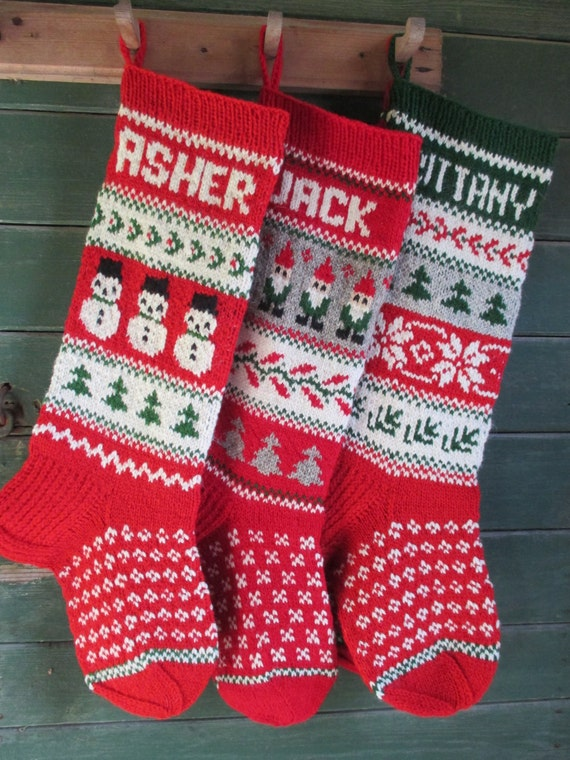 adc2f37188e Set of 3 Christmas Stockings 24 or 26 Personalized