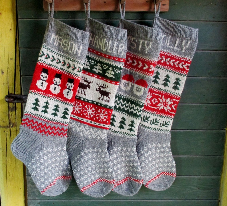 25cb89c49b4 Set of 5 Christmas Stockings 24 or 26 Personalized