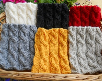 Boot Cuffs - Cream white Black Cranberry red Gray Yellow Oatmeal - Hand knit Cable knit Boot Cuffs Leg Warmers Boot Toppers
