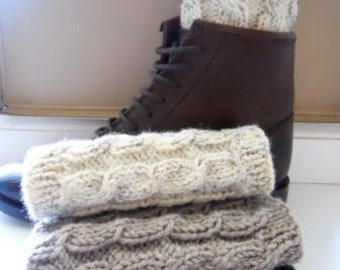 Boot cuffs - Oatmeal Taupe Dark Grey White Cream - Hand knit Cable knit Boot toppers Leg warmers