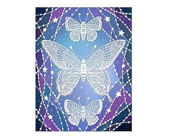 Cosmic Butterflies - 5x7 Art Print - Original Papercut Illustration