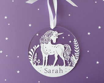 Personalized Holiday Ornaments - Unicorn - Acrylic Christmas Ornaments