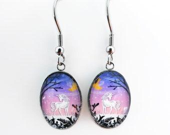 Unicorn Earrings - Papercut Illustration Earrings - Stainless Steel Earrings
