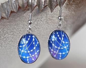 Starry Sky Earrings - Papercut Illustration Earrings - Stainless Steel Earrings