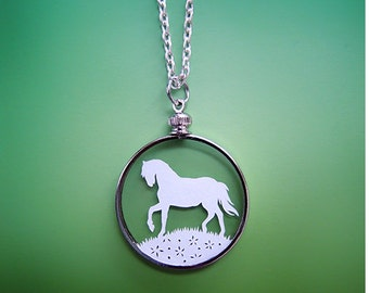 Horse Necklace - Papercut Horse - Original Handcut Paper in Glass Pendants with Silver Chain