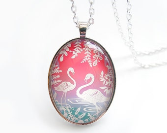 "Flamingos Necklace - Reading with Owls - Papercut Illustration Pendant with 24"" Silver Chain"