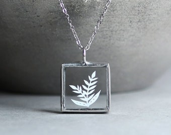 Papercut Necklace - Leaves - Original Papercut Art - Soldered Glass Necklace - Small Square