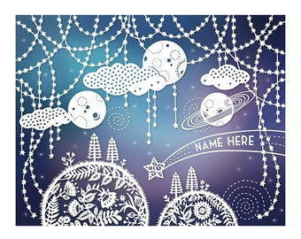 Personalized Print - 8x10 - Customized with Your Name - Outer Space