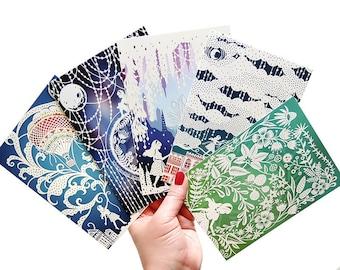 Postcard Set - 5 Unique Art Postcards - Prints of Original Papercut Illustrations